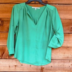 Collective Concepts green 3/4 sleeve option blouse